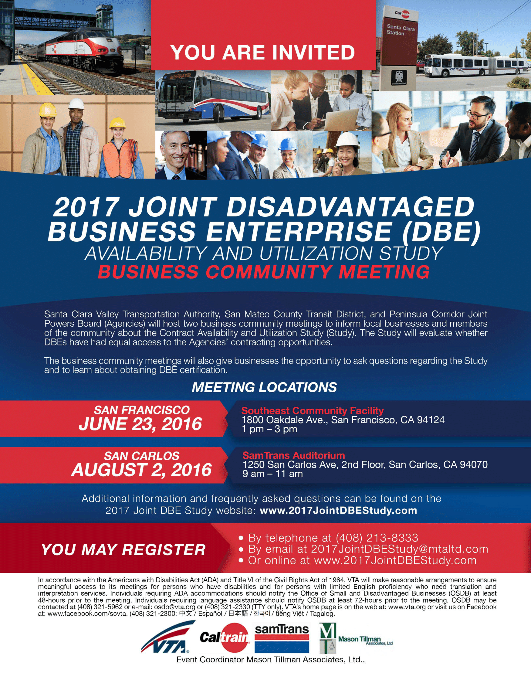 a dbe business community meeting will be held in san carlos next month