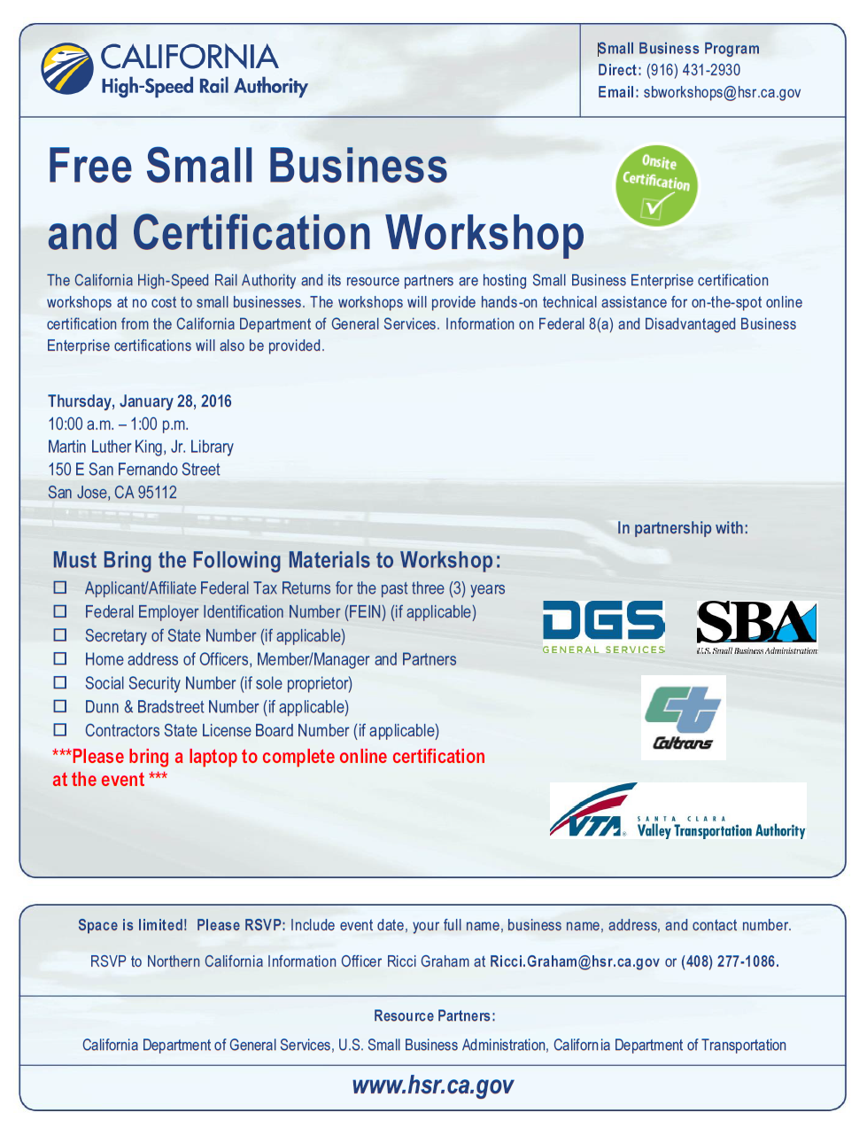 Free Small Business And Certification Workshop Napa Valley